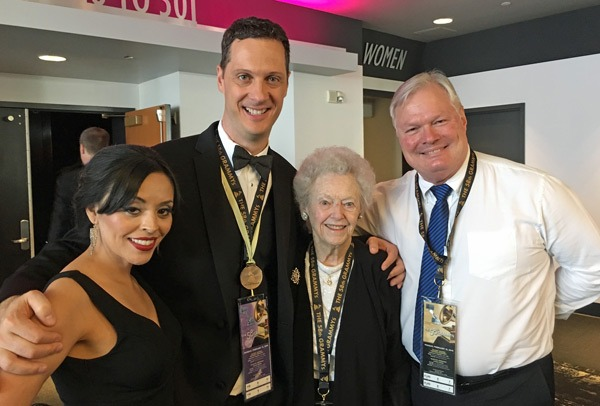 From left: Eloisa Holtan, Eric Holtan, Dorothy Vanek and True Concord producer Peter Rutenberg at the 2016 Grammy Awards Ceremony